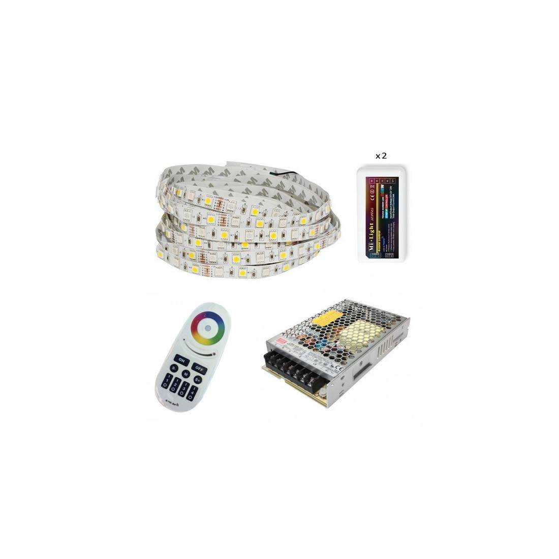 Pack ruban LED RGB+W - Tactile - Fils - 20m